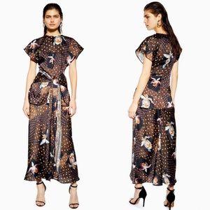NWT Topshop Boutique Orchid Print Skirt + Top Set